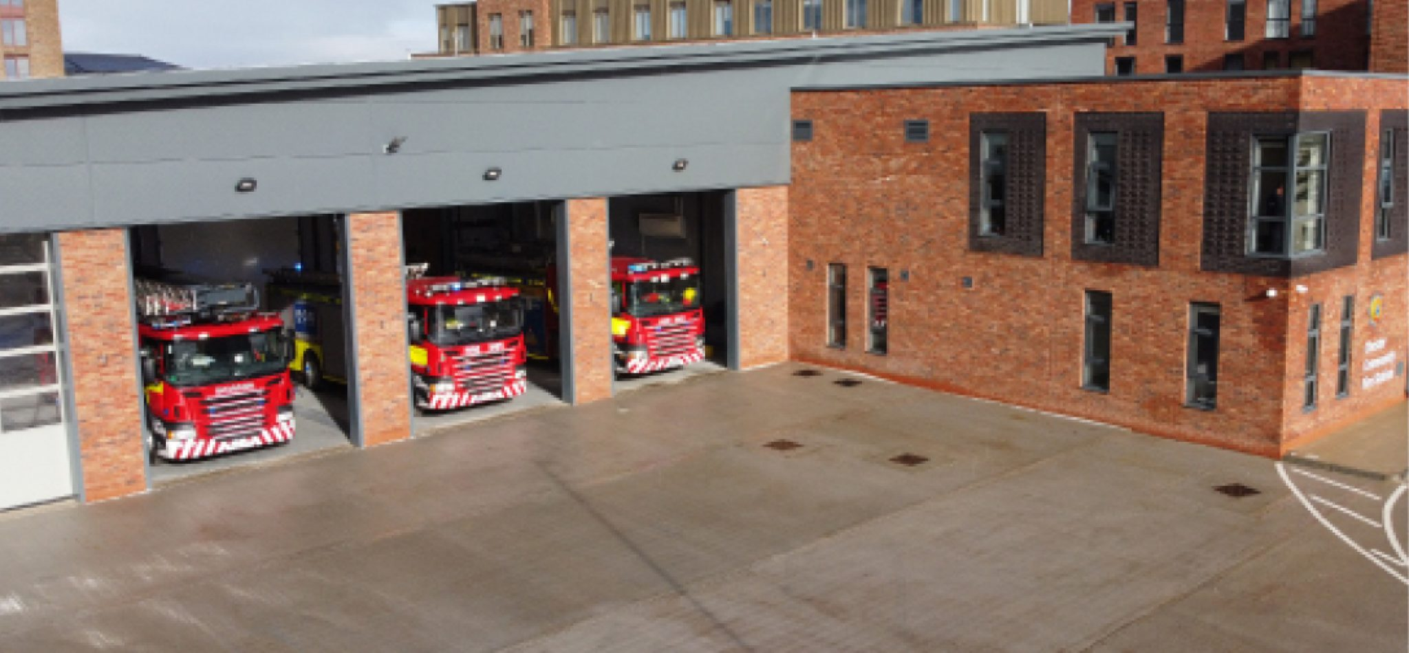 A heavy-duty and slip-resistant polyurethane flooring system for installation in apparatus bays and vehicle maintenance support areas of the new Chester Community Fire Station.